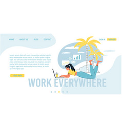 Freelance office everywhere landing page design vector