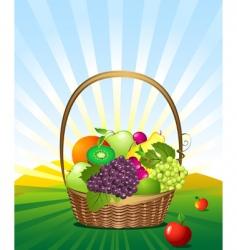 Fruit basket in meadow vector