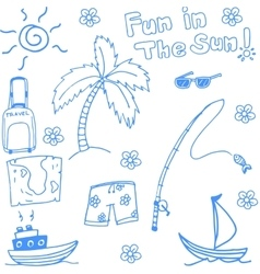 Fun holiday beach doodle vector