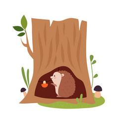 Funny hedgehog as forest animal reserving vector