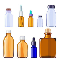 glass medical bottles isolated glass containers vector image