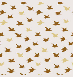 golden beige swallow birds seamless pattern with vector image