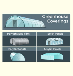 Greenhouses coverings set vector