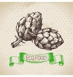 Hand drawn sketch artichoke vegetable Eco food vector