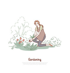 happy lady working in garden female gardener vector image