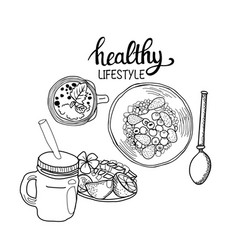 Healthy breakfast cereal granola bowl spoon and vector