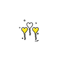 hearts balloons icons design vector image