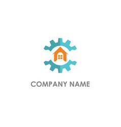 home realty cogwheel company logo vector image