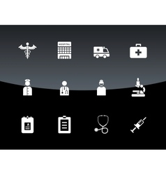 Hospital icons on black background vector image
