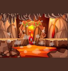 Infernal dark cave with lava scene vector