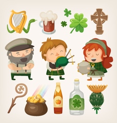Irish people and items vector image