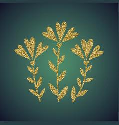 Jewelry gold glitter of love heart flower vector