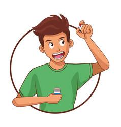 Man taking a pill vector