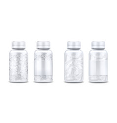medicine bottles with pills and clear capsules vector image
