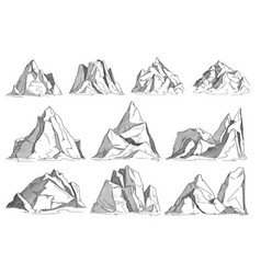 mountain sketch set isolated on white background vector image