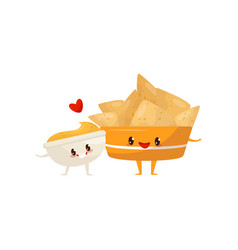 Nachos and spicy sauce are friends forever fast vector