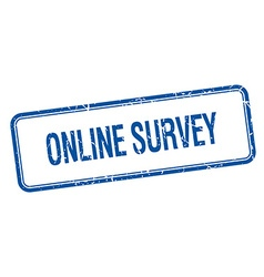 online survey blue square grungy vintage isolated vector image