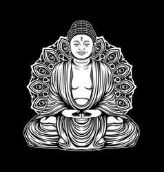 Outline buddha amitabha vector