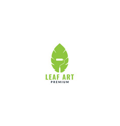 Paint brush or roll with leaf logo design vector