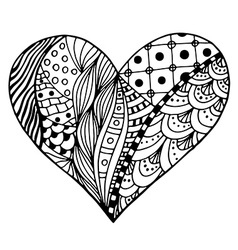 Patterned Love Heart Sketch vector