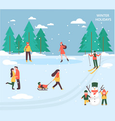 People relax in winter park vector