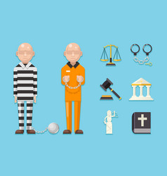 Prisoner law justice characters icons symbols set vector