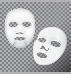Realistic white facial cosmetic sheet mask vector