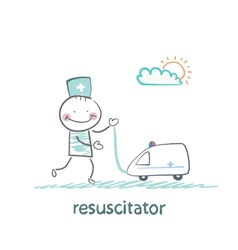 Resuscitator played with toy ambulance vector