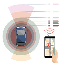 self-driving car driverless assistance system vector image