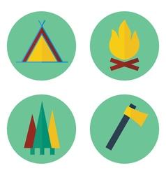 set camping iconsprint vector image