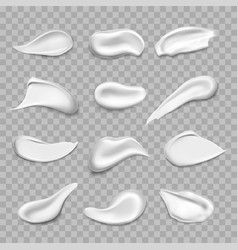 set isolated cream smears or white stains vector image