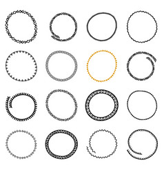 set of hand drawn circle frames in ethnic style vector image