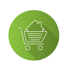 Shopping cart with house inside flat linear long vector