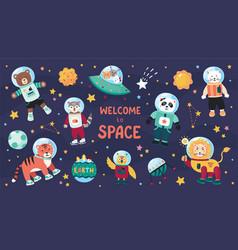 Space animals cute cartoon trendy baby animal vector