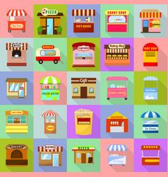 Street food kiosk icons set flat style vector