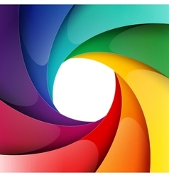 Swirly rainbow shiny paper layers background vector image