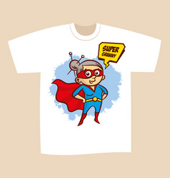 T-shirt print design superhero granny vector