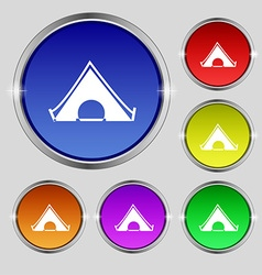 The tent icon sign Round symbol on bright vector image