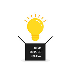 Think outside box with bulb vector