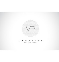 vp v p logo design with black and white creative vector image