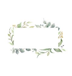 watercolor frame green eucalyptus vector image