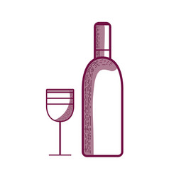 Wine bottle with glass beverage vector