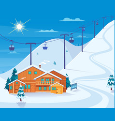 Winter skiing resort vector