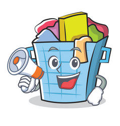 with megaphone laundry basket character cartoon vector image