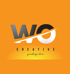 Wo w o letter modern logo design with yellow vector