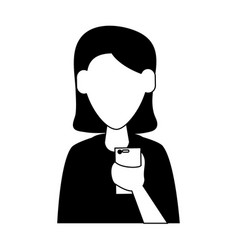 Woman avatar using cellphone icon image vector