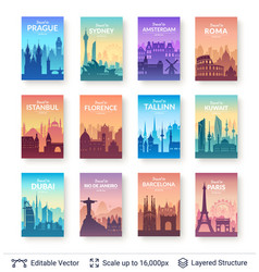world famous city scapes set vector image