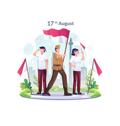 Youth and heroes celebrate indonesias vector