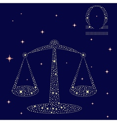 Zodiac sign Libra on the starry sky vector
