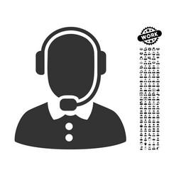 Call center operator icon with people bonus vector
